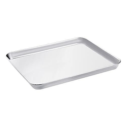 WEZVIX Backblech, Edelstahl Rechteckige Backform Ofenblech zum Backen 31.5 x 25 x 2.5 cm Kuchenblech, ungiftig und gesund, rostfrei und weniger klebrig, leicht...
