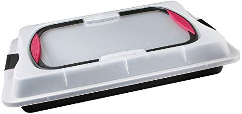 Zenker Blechkuchen-Container to go, Backblech mit Transport-Abdeckung für unterwegs, Backform antihaft mit Deckel und Softgriffen (Kuchenform: ca.425x295x75...