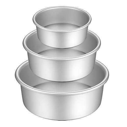 Gesentur Kuchenform Rund, Backformen Set aus Eloxiertem Aluminium Antihaftbeschichtung, mit Abnehmbar Auslaufsicher Boden, 3 Größen Enthält...