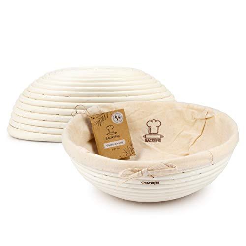 Backefix runder Gärkorb Gärkörbchen Brotkorb für selbstgemachtes Brot - Zero Waste Natur Gaerkorb rund Ø 27cm