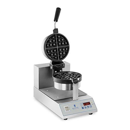 Royal Catering RCWM-1300-RE Waffeleisen Waffelgerät Waffelautomat Waffle Maker Belgische Waffel (Ø 18 cm, Drehbar, 1300 W, Timer 99 min, Edelstahlgehäuse)