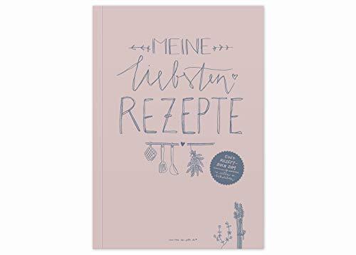 Rezeptbuch A5 zum Selberschreiben - Meine liebsten Rezepte - DIY Kochbuch, Backbuch schreiben, Design in Rosa Blau, Recyclingpapier, Softcover, 14,8 x 21 cm