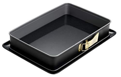 Dr. Oetker Rechteck-Springform mit Emaille-Boden 38 x 25 cm mit Servierboden, eckiges Kuchenblech, für große Blechkuchen, Serie Back-Idee Kreativ, Menge: 1...