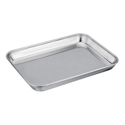 TEAMFAR Mini-Backblech, Edelstahl Klein Backform Ofenblech, Rechteckiges Mini-Ofenschale zum Backen Kochen Servieren, 23 x 18 x 2,5 cm, Gesund & Langlebig,...
