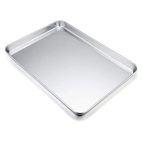 TEAMFAR Backblech, Rechteckigies Backform Kuchenblech aus Edelstahl zum Backen Kochen Servieren, 40x30x2,5cm, ungiftig und Gesund, Hochglanzpoliert, leicht zu...