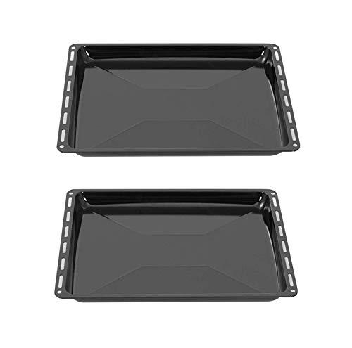 ICQN Backblech 455 x 375 x 30 mm Set | 2er Emaillierte Fettpfanne für Backofen und Herd | Passend für Bosch Siemens Neff Constructa | Kratzfest & Rostfrei |...