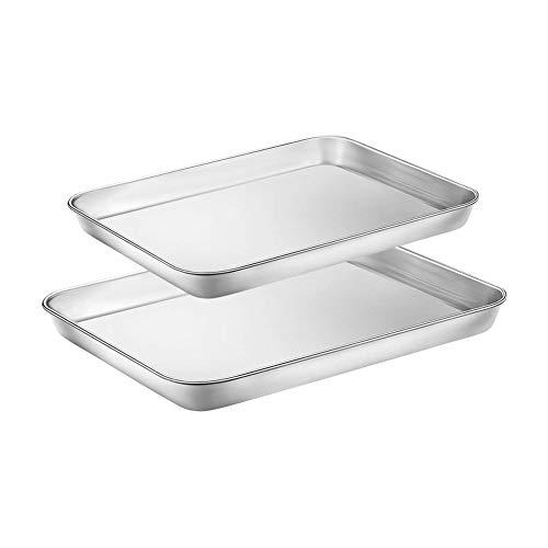 WEZVIX Backblech 2er-Set, Edelstahl Rechteckige Backform Ofenblech zum Backen Kuchenblech, Ungiftig und Gesund, Leicht zu Reinigen und Spülmaschinenfest ( 23 x...