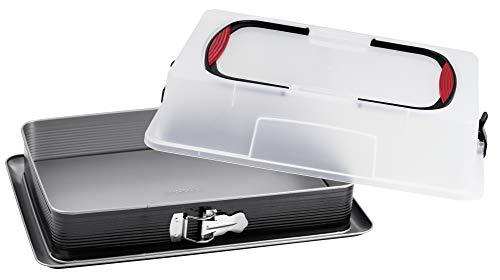 Probus Blechkuchen-Springform mit Transporthaube, antihaftbeschichtete Rechteck-Springform mit hohem Rand und Auslaufschutz, inkl. praktischer Tragehaube mit...
