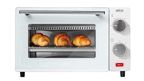 Silva Homeline MB 9500 MB 9500 Minibackofen, 100-230° C regelbar, inklusive Backblech, Grillrost und Zange, 650, Edelstahl, 9 liters, weiß
