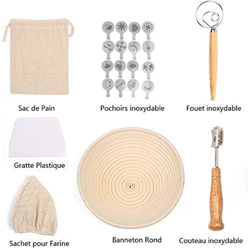 UNIQUEEN Gärkorb Gärkörbchen Brot Proofing Körbe Runde Rattan Brot Fermentation Korb Bäckermesser Backen Kit (A#)