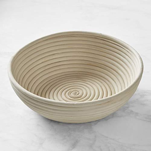 Gärkörbchen rund aus natürlichem Peddigrohr (rund, ø25cm), mit Leineneinsatz, für Brot und Teig