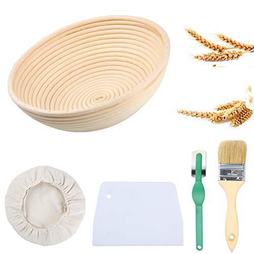 Uponer Gärkorb Gärkörbchen Brot Proofing Körbe 25cm Rund Brotkörbchen Für 1kg Brotteig für Gerkörbe Set aus natürlichem Peddigrohr mit...