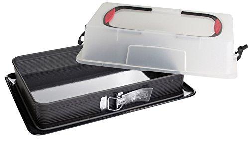 Zenker Rechteck-Springform mit Haube DELUXE, Kuchentransportbox mit Emaille-Boden, Backblech mit Deckel (Farbe: Schwarz/Transparent/Rot), Menge: 1 Stück