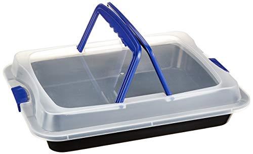 axentia Back- und Auflaufform, antihaftbeschichtete Backform mit Transporthaube aus Kunststoff, Schutzbox aus Carbonstahl, Transportbox mit 2 Tragehenkeln,...