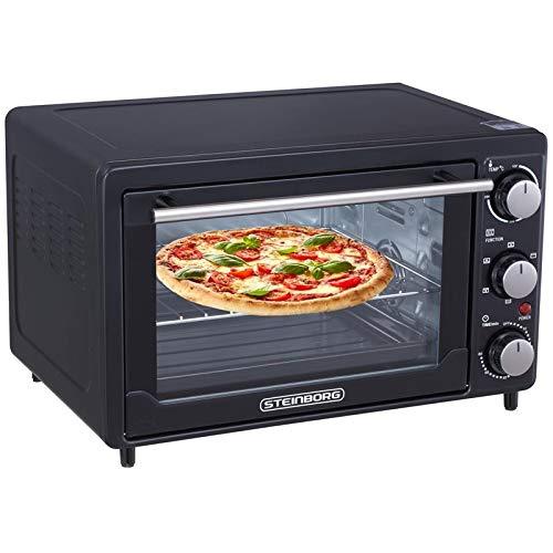 Mini Backofen 25 Liter | Pizza-Ofen | 3in1 Backofen mit Umluft | Minibackofen | Innenbeleuchtung | herausnehmbares Krümelblech | Ober-/Unterhitze | 60...