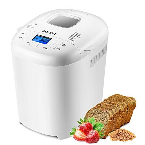 aolier Brotbackautomat - 14 Programme, 700-900 g Brotgrößen, Einstellbarer Bräunungsgrad in 3 Stufen, 13 Stunden Timing-Funktion mit Spezialprogrammen für...
