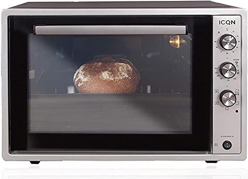 ICQN 60 Liter XXL Minibackofen | 1800 W | Umluft | Pizza-Ofen | Doppelverglasung | Drehspieß | Timer | inkl. Backblech Set | Elektrischer Mini Ofen |...