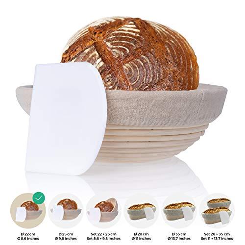 Gärkörbchen klein inkl. Teigschaber – Der ideale Gärkorb für Brotteig aus natürlichem Peddigrohr (rund | Ø 22 cm) – mit Leineneinsatz
