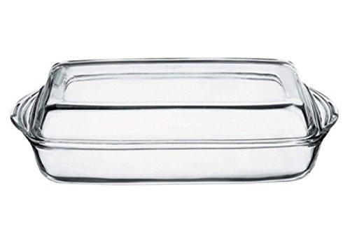Pasabahce 59009 Borcam – Auflaufform, Servierform und Backform, rechteckig aus Glas mit Deckel, 2-teilig, 33 x 19 cm