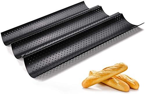 Fontien Baguette Backblech Baguetteblech Antihaft Karbonstahl für 3 Baguette 38 x 24,5 cm