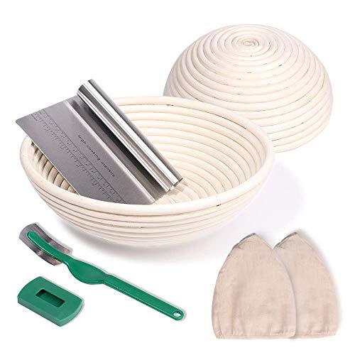 NZQXJXZ Gärkörbchen 2er Set rund Ø 25 cm und 22cm inkl Teigschaber und Leinensatz, Gärkorb aus natürliche Peddigrohr für selbstgemachtes Brot - nachhaltig...