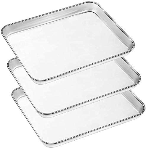AIKKIL Backblech Set, 3-teilige große Backbleche Edelstahl-Backform für Toaster, ungiftige Auffangwanne, Spiegeloberfläche, leicht zu reinigen,...