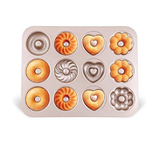 Donut Backform Kuchen Bagelform Donut Formen Backblech aus Kohlenstoffstahl Antihaft 4 verschiedene Modelle 12 Vertiefungen für Donut-Backen Muster Muffins...