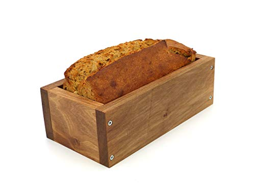 Holzwerk Premium Brot-Backform - hitzebeständiges massives Walnuss-, Birnen-, Apfel-holz – hochwertiger Brot-Backrahmen inkl. Rezept– natürlicher...