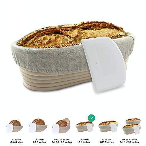 riijk Gärkörbchen + Teigschaber – Der ideale Gärkorb aus natürlichem Peddigrohr (oval, 28 cm) – mit Leineneinsatz, rostfrei geklammert