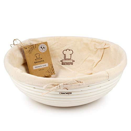 Backefix rundes Gärkörbchen Gärkorb für eigenes Brot – mit Baumwolltuch Natur Ø 27cm