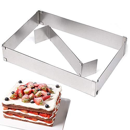 Backform Rechteckig, Backrahmen mit Teilern, Backrahmen Rechteckig Verstellbar, Kuchenform Rechteckig Edelstahl für Kleine und Große Kuchen, Backen und...