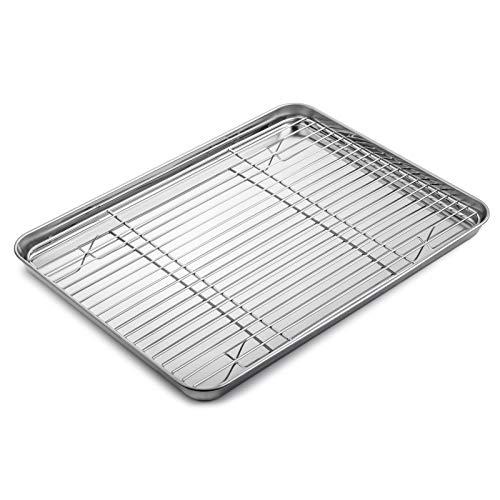 WEZVIX Backblech mit Auskühlgitter, Edelstahl Rechteckige Backform Ofenblech und Abkühlgitter zum Backen 40 x 30 x 2.5 cm Kuchenblech, Ungiftig und Gesund,...