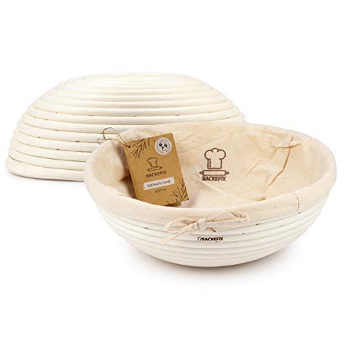 Backefix Gärkorb rund Ø 27cm - Brotkorb für selbstgemachtes Brot, Gärkörbchen aus Peddigrohr