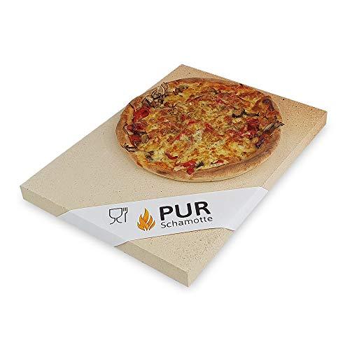 PUR Schamotte Pizzastein Brotbackstein für Backofen Gas-Grill 40 x 30 x 3 cm Rechteckig Schamott