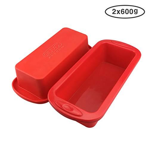 Silikon Brotbackform und Kastenform - 2er Set - SILIVO Antihaftende Silikon Backform für Kuchen und Brote- 22x9x6cm