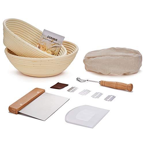 DOVAVA Gärkörbchen Rund & Oval 2er Set, ø25 cm, Gärkorb Brot mit Teigschaber Silikon & Edelstahl, Bäckermesser mit 5 Rasierklinge, Leineneinsatz Liner für...