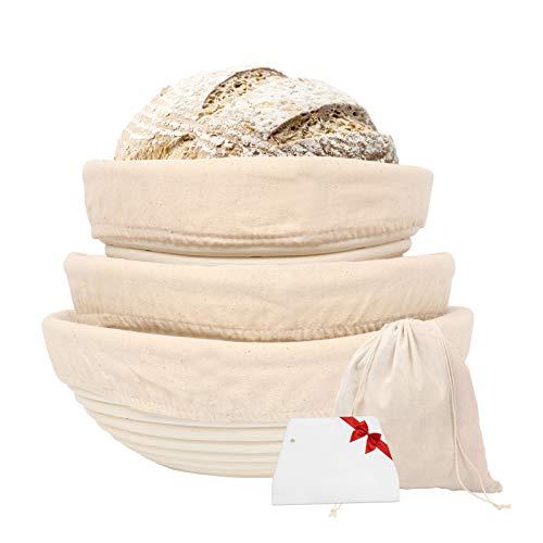 Gärkörbchen rund, 3 Gärkörb für Brot Backen, Natürlichem Peddigrohr (rund | 20, 22, 25cm) mit Leineneinsatz, Teigschaber, Brottasche