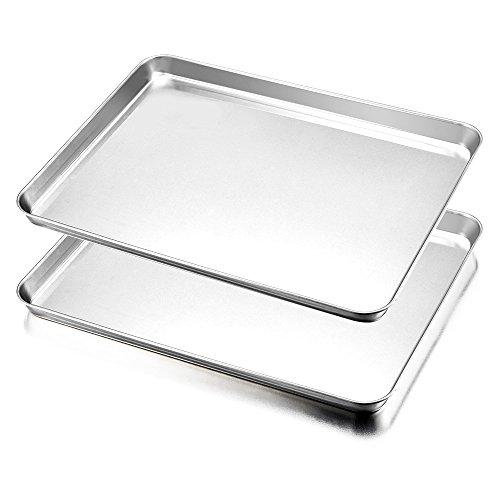 HaWare Backblech, Edelstahl Ofenblech Kuchenblech 2er Set, 40 x 30 x 2.5cm, Rechteckige Fettpfanne Backofen Tablett zum Backen & Servieren - Ungiftig &Gesund,...
