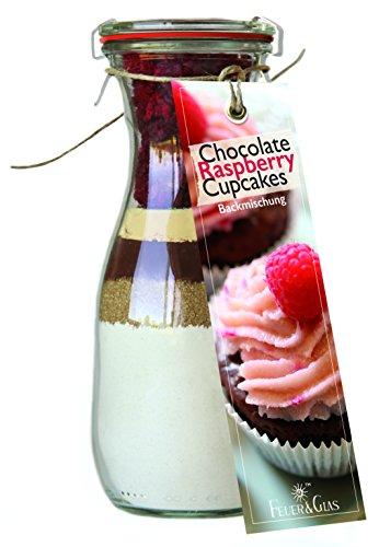 Backmischung im Glas für Chocolate Raspberry Cupcakes – Raffinierte Geschenk-Idee für Backfreunde – Gourmet Backzutaten im Weckglas für...