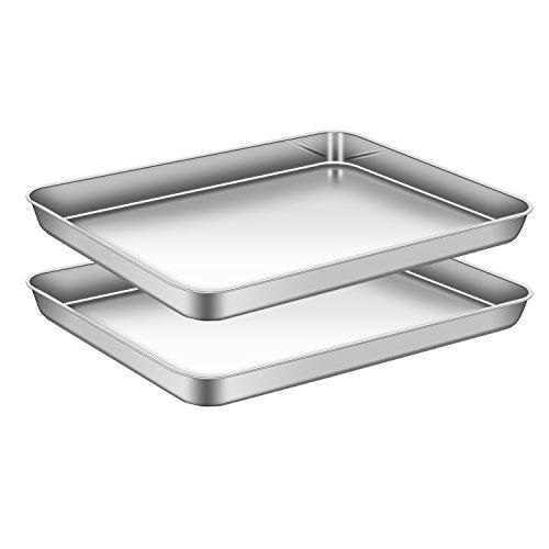 AEMIAO Edelstahl Tablett Backblech Bakeware Ofenblech Pfanne Tablett Set Profi Kuchenblech für die Küche zu Hause, Antihaftbeschichtung, Superior Spiegel...
