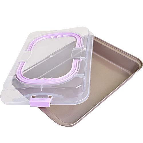 QAQGEAR Kuchen Backblech mit Transporthaube, Transportbox Antihaftbeschichtet, Schutzbox aus Carbonstahl, Pizza-, Auflauf- & Kuchenblech, Ofenblech zum Backen,...