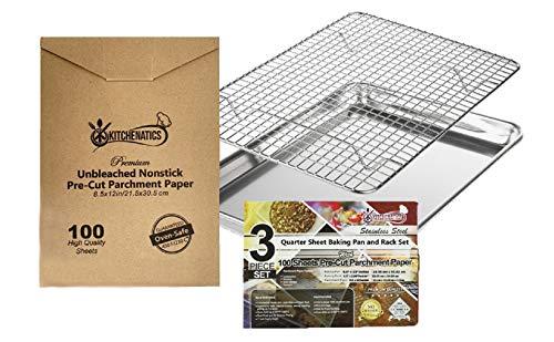 KITCHENATICS 1/4 Aluminium Backblech mit Edelstahl Gitter: Backblech mit Kuchengitter -Bonus 100 Stück Vorgeschnittenes, Braunes Backpapier (24,4 cm x 33,02...