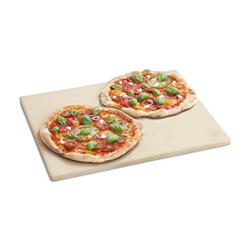 Burnhard Universal Pizzastein für Backofen, Gasgrill & Holzkohlegrill aus Cordierit für Brot, Flammkuchen & Pizza, rechteckig - 45 x 35 x 1.5 cm