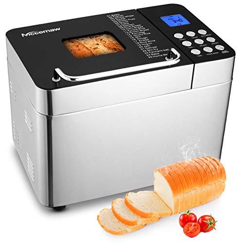 Nictemaw Brotbackautomat Edelstahl, Brotbackmaschine 600W mit 25 Backprogramme, 3 Brotgrößen und 3 Backfarben, 15 Stunden Automatischer Timer und 1 Stunde...