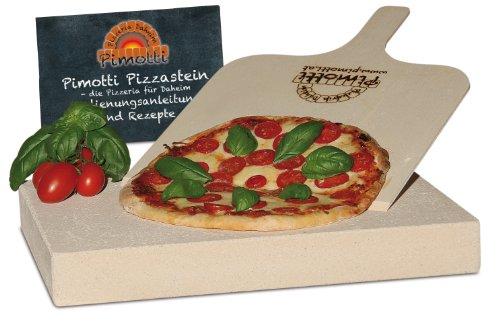 5cm Pimotti Pizzastein/Brotbackstein aus Schamott +Schaufel +Anleitung & Rezepte im Set