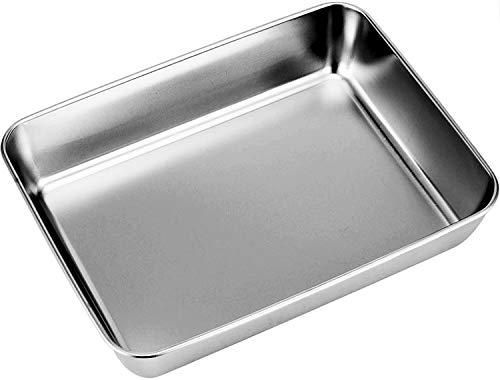 Güker Backblech aus reinem Edelstahl,Rechteckiges Kuchenblech Ofenblech zum Backen Kochen,Tiefer Rand,Hochglanzpoliert und Spülmaschinenfest-30x40x6.5cm