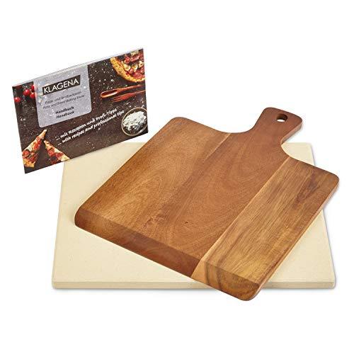 KLAGENA AS-626 Pizzastein-Set für Backofen & Grill, inkl. Pizzastein & Pizzaschaufel aus hochwertigem Akazienholz, Brotbackstein-Set aus Cordierit 38x30x1.5 cm