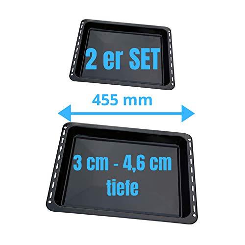 UNIQ DEALZ 455x370x 31 und 46mm 2er Set mit 2 Backbleche 2 Tiefe emailliert passend für BSH-Gruppe 662999 – 00662999, 434038 kompatibel Bosch Siemens Neff...