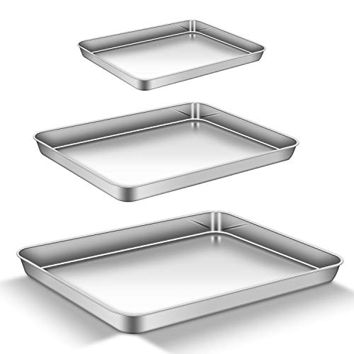 AEMIAO Backblech Edelstahl Antihaft Kuchenblech Rechteckiges Ofenblech Ofen Tablett Set Profi für die Küche, Kuchen & Pizza, Gesund, Superior Spiegel...