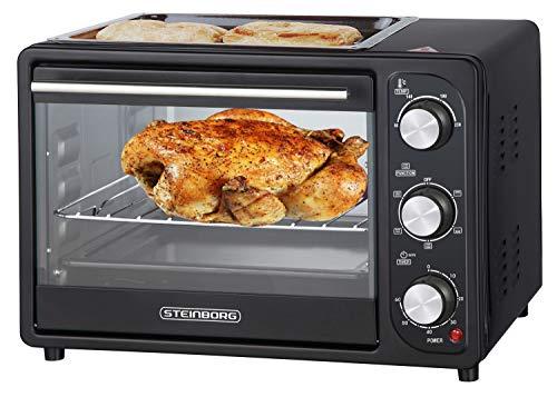 3in1 Mini Backofen 20 Liter mit Umluft inkl. Warmhalteplatte | Minibackofen | Pizza-Ofen | Krümelblech | zuschaltbare Umluft | Temperatur 100-250°C |...